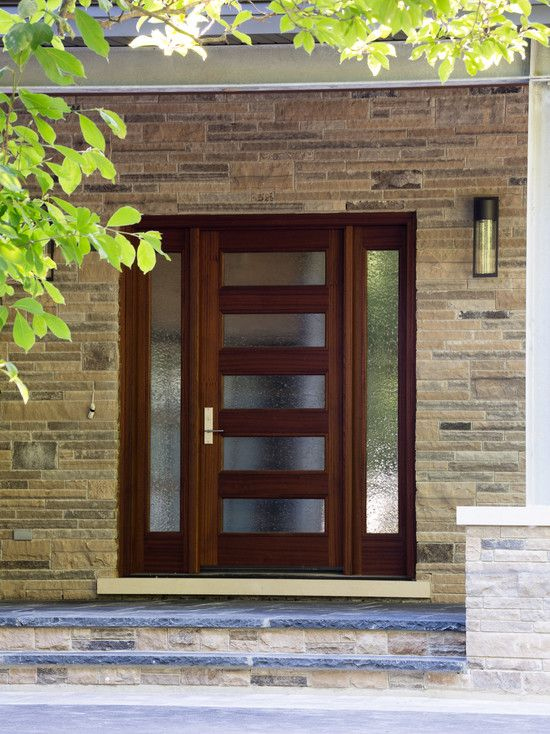 Doors Designs, Contemporary Wooden Front Door With Glass Designs Also Stone  Bricks Wall Material Also