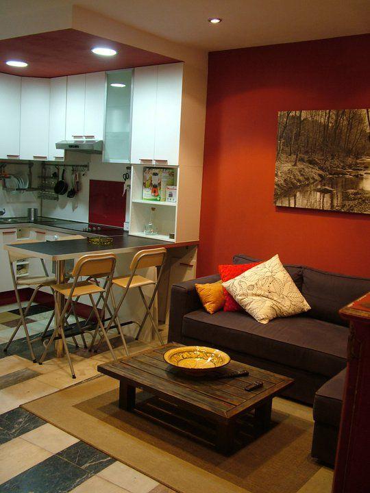Ideas de #Comedor, Cocina, Loft, estilo #Contemporaneo color  #Rojo,  #Marron,  #Marron,  #Blanco, diseñado por MR-ARQUITECTURA TECNICA  #CajonDeIdeas