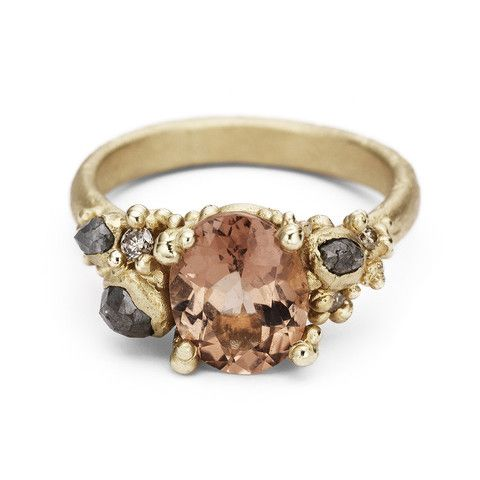 Tourmaline and diamond encrusted ring from Ruth Tomlinson, handmade in London