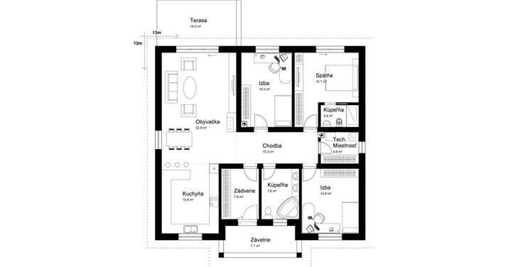 podorys prizemny dom / bungalov / malý dom / ground plan / bungalow / house / projekt