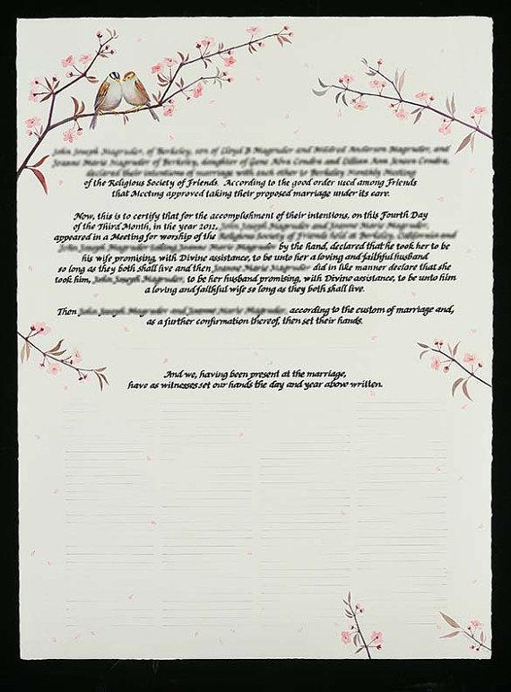 Quaker marriage certificate wedding ideas pinterest marriage