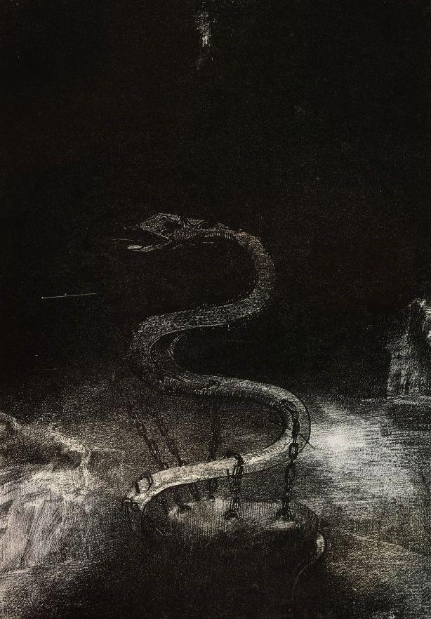 Odilon Redon, Apocalypse de Saint-Jean, Bound for One Thousand Years, 1899.