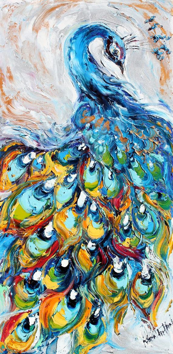Original oil Sexy Peacock Bird palette knife painting by Karensfineart