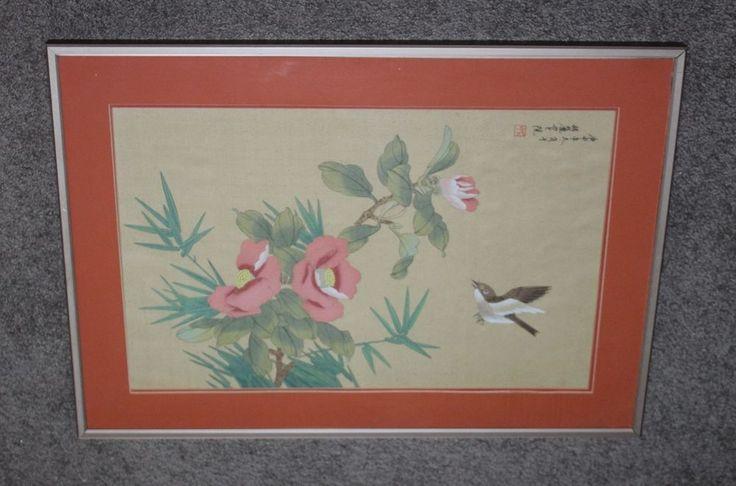 Retro Wood Block Print Art Featuring Birds, Camillas & Bamboo Framed Under Glass