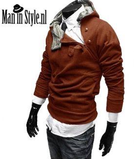 Stijlvolle Bruine Vest met schuine rits en capuchon