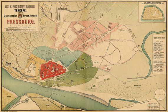 Restored map of Bratislava, 1882. Historical map of Pressburg.