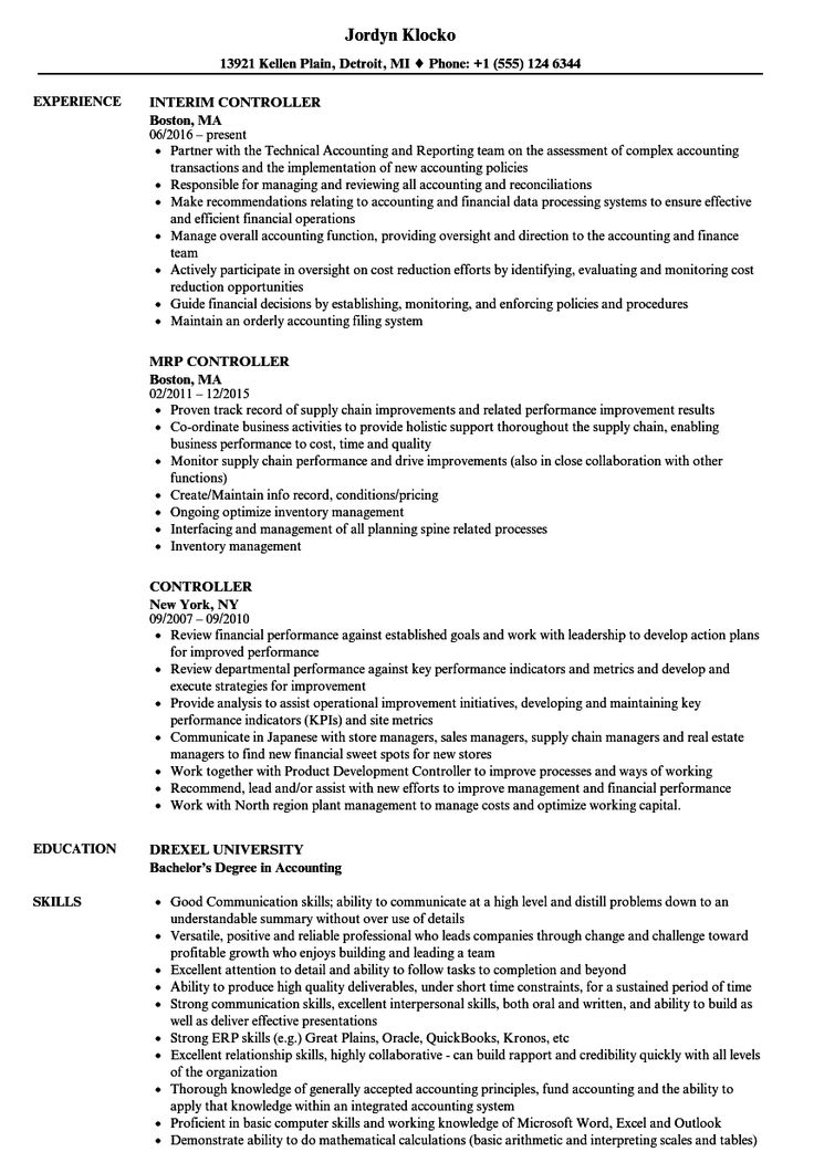 Controller Resume Check more at http//easybusinessposters