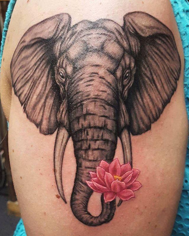 Elephant and lotus arm piece.