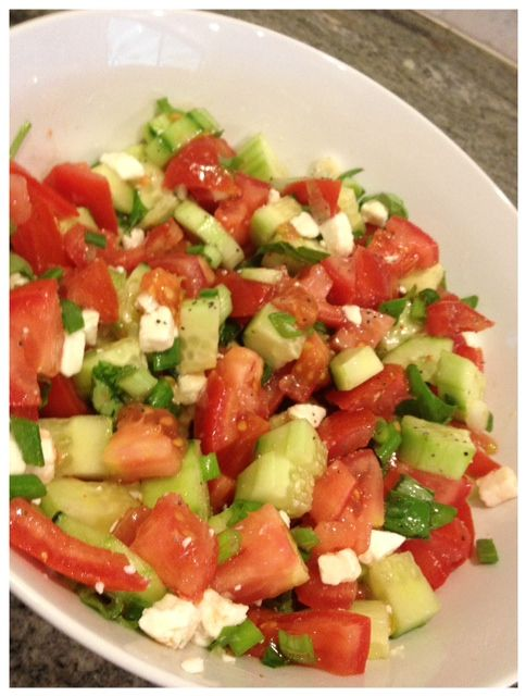 Tomato, Basil and Cucumber Salad {recipe} #GetZesty