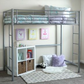 Home Loft Concepts Metal Twin Loft Bed Finish: Silver