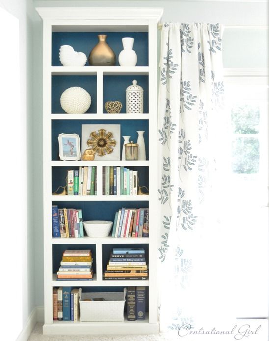 Check out how this fan created a sophisticated look for BILLY bookcase by using molding, trim and shelf dividers on @Centsational Blog Girl blog!