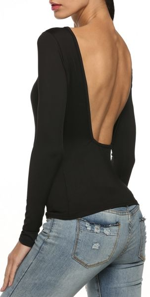 Wanna Be Down Backless Top - Black
