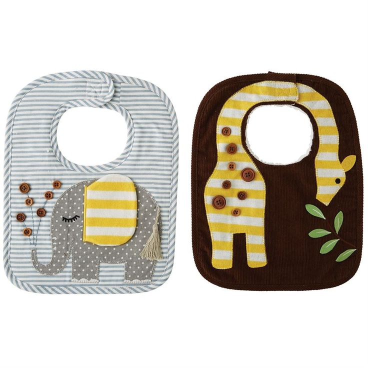 Corduroy bibs features giraffe and elephant appliques with wood button details, long pile minky backing and Velcro closure.