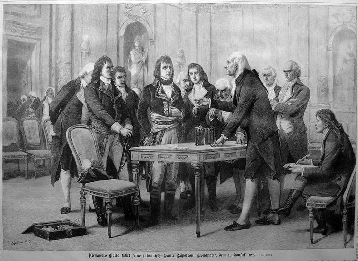 004 Alessandro Volta führt seine galvanische Säule Napoleon