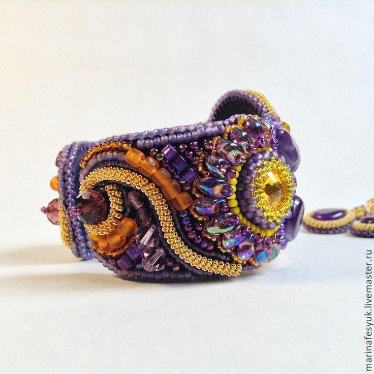 """Комплект """"Фиолетовое золото"""". Handmade."""