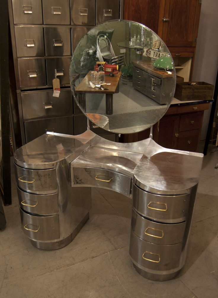Interior Design Decoration Loft Furniture Aluminium Dressing Table From The Which Was Made Using Old Aircraft Parts After The Second World War