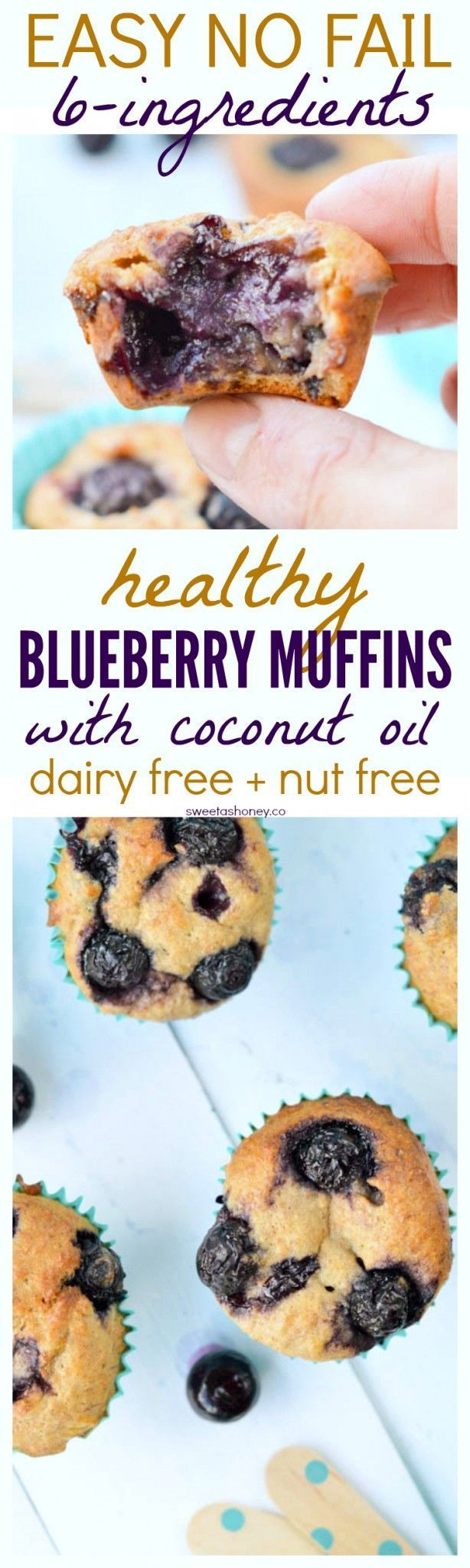 Healthy Whole Wheat Banana Blueberry Muffins   Refined sugar free muffins   Clean eating muffins recipe   Easy 6-ingredients muffins   Healthy muffins   Skinny muffins