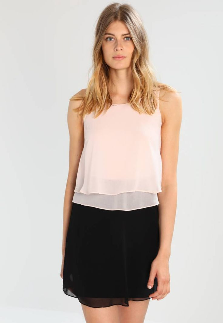 """NAF NAF. SHANNA NEW - Summer dress - nude/noir. Outer fabric material:100% polyester. Care instructions:Hand wash only. Neckline:round neck. Sleeve length:sleeveless. Back width:14.0 """" (Size S). Bottom part material:100% polyester. Fit:regular. ..."""