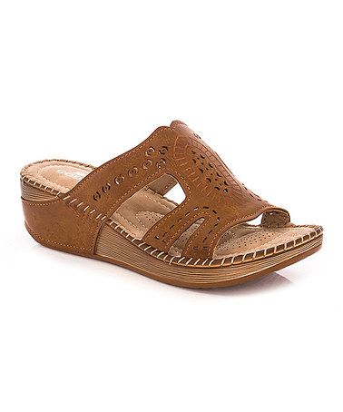 Another great find on #zulily! Tan Embossed Sandal #zulilyfinds