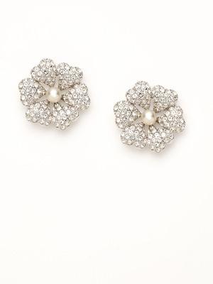 Swarovski Jewelry Pearl & Crystal Flower Stud Earrings