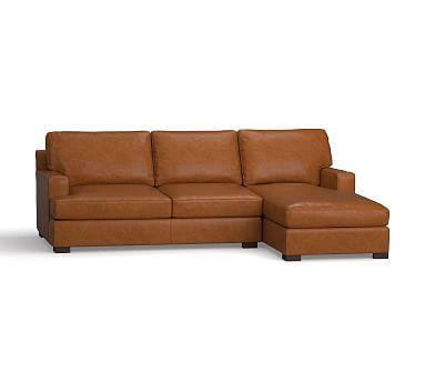 Townsend Square Arm Leather Chaise Sofa Sectional #potterybarn