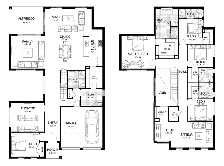 Melody 43 - Double Level - Floorplan by Kurmond Homes - New Home Builders Sydney NSW