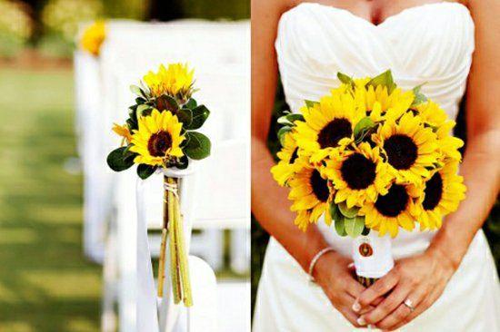 hochzeitsblumen sonnenblumen landhausstil deko blumenstrauß