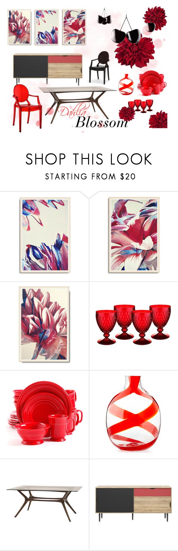 Dining room in red and black color palette. Inspired by Dahlia flowers. Original floral gallery wall in red with blue accents.  #diningroom #wallart #painting #gallerywall  Dahlia Blossom Dining Room by kacix on Polyvore featuring interior, interiors, interior design, home, home decor, interior decorating, Gibson, Villeroy & Boch, Carlo Moretti and Nika