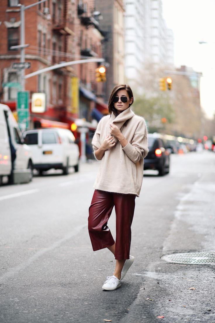 Fall Forward - leather culottes and jumper by We Wore What