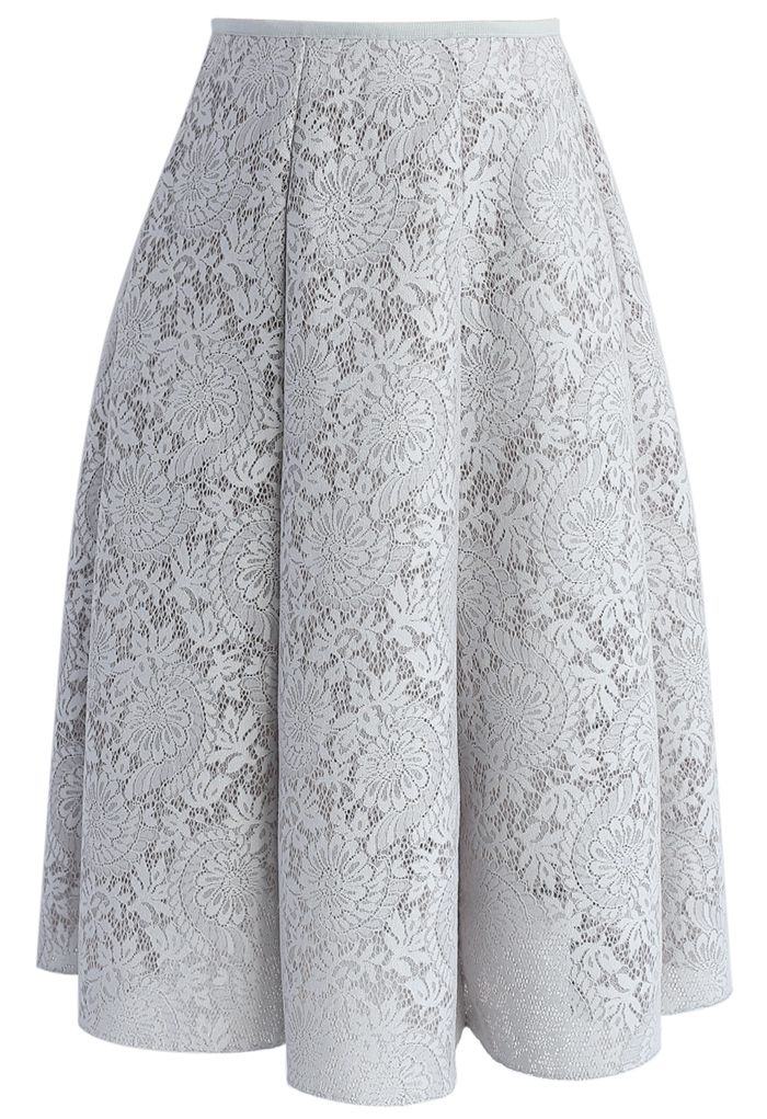 Blooming Romance Airy A-line Skirt in Grey - New Arrivals - Retro, Indie and Unique Fashion