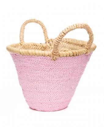 Light Pink Raffia Mini Sequin Basket