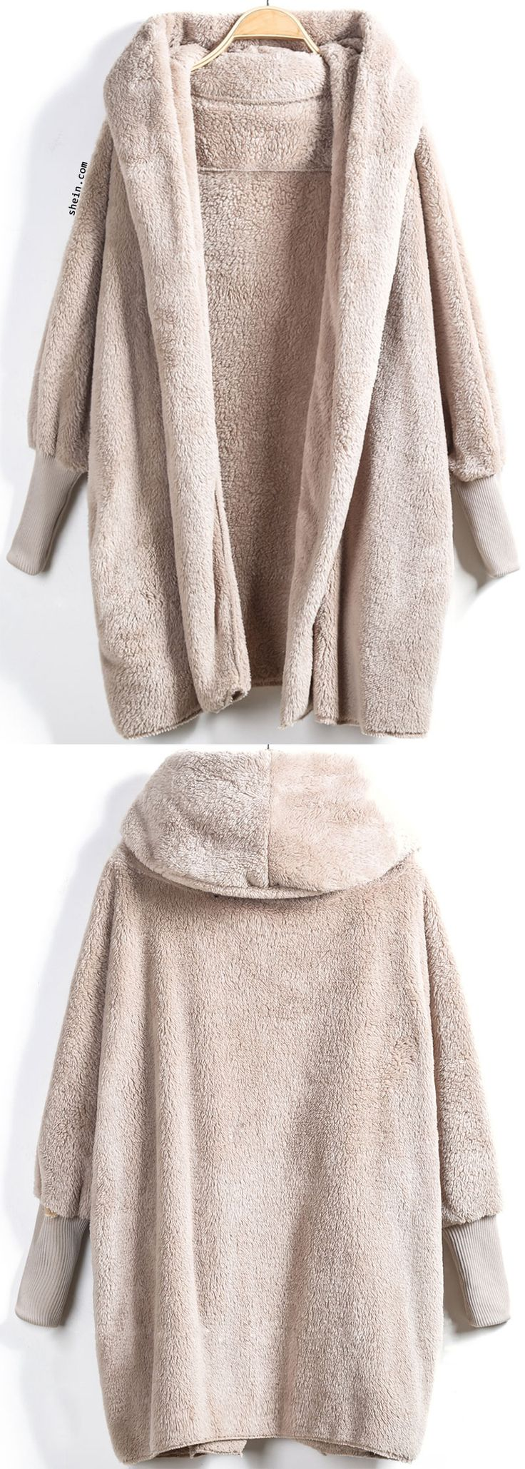 Feel warm and wear like wearing a teddy bear in this Apricot Hooded Long Sleeve Loose Cardigan.