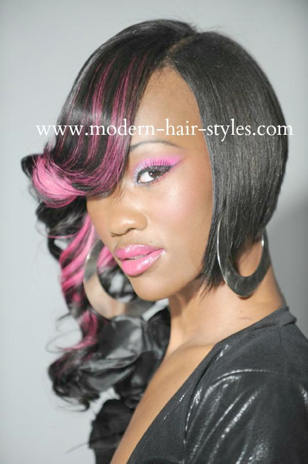 asymmetrical haircuts for black cut and styled asymmetrical bob with pink accents and 3270