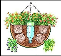 An upside-down water bottle with holes in a hanging pot for easy (thorough) watering--this would be a lovely way to grow herbs