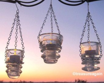 Antique Insulator Lanterns Tea Light Holders, Recycled Garden Decor Insulator Lighting