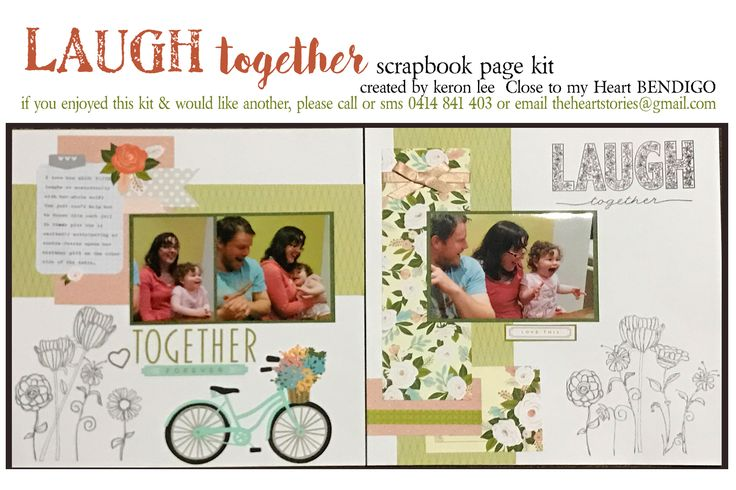 Laugh Together kit This delightful double page scrapbook layout kit is for all your fun & silly pics celebrating laughter. Paper is reversible which enables you to copy mine exactly, or to improvise & embrace your own creative flair. You may like to colour in the flowers & title to put your own personal touch on it. $18 ea plus flat $10 per order postage w/i Australia - International postage available. Paypal, pay to moblie or direct debit. Email: theheartstories@gmail.com scrapbook kit, pa