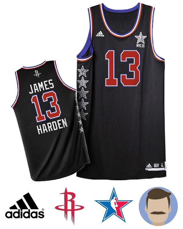 d73a91386 Wear this stylish Mens Adidas Houston Rockets 13 James Harden Black 2015 NBA  NYC All ...
