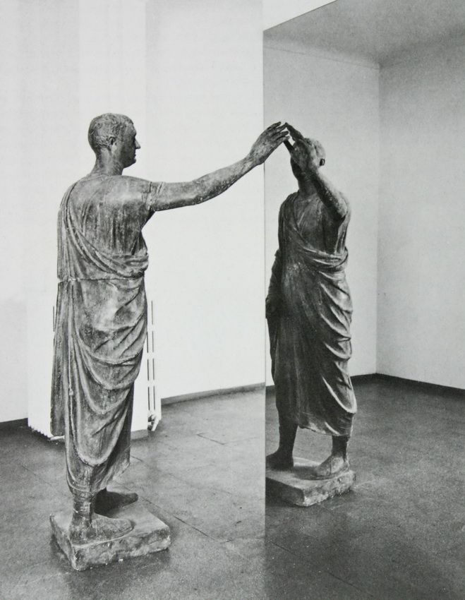 Michelangelo Pistoletto, Etruscan Holding Up A Mirror, 1976