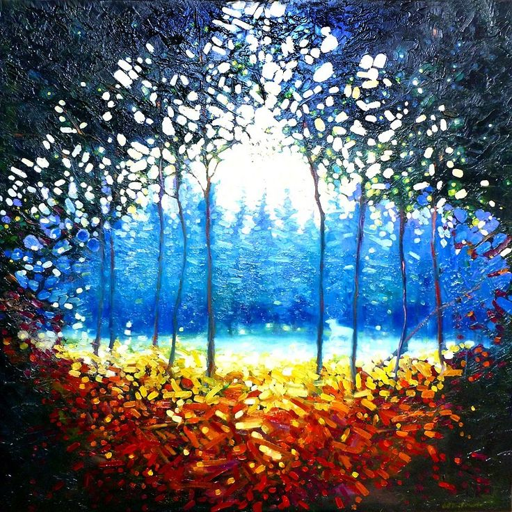 Forest painting painting trees pale white rainbow colours tree art the