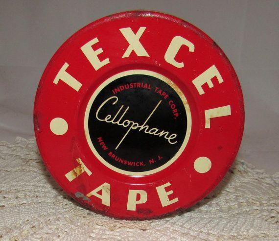 Vintage Round Texcel Cellophane Tape Tin box 50s by PuppyLuckArt