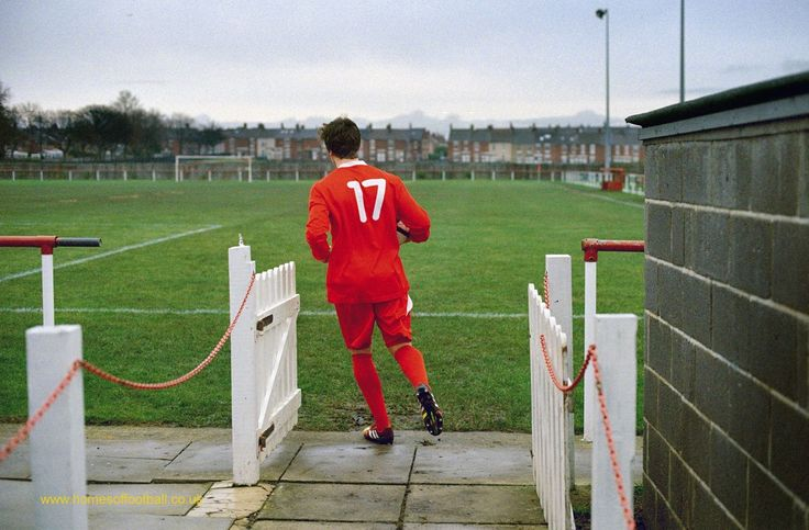 The hungry striker first up, North Shields,England year2014 by Stuart Roy Clarke – Amateur footballer Gareth Bainbridge runs out for North Shields in the Northern League with a ball under his arm and No.17 on his back - he is on course for scoring a record number of …