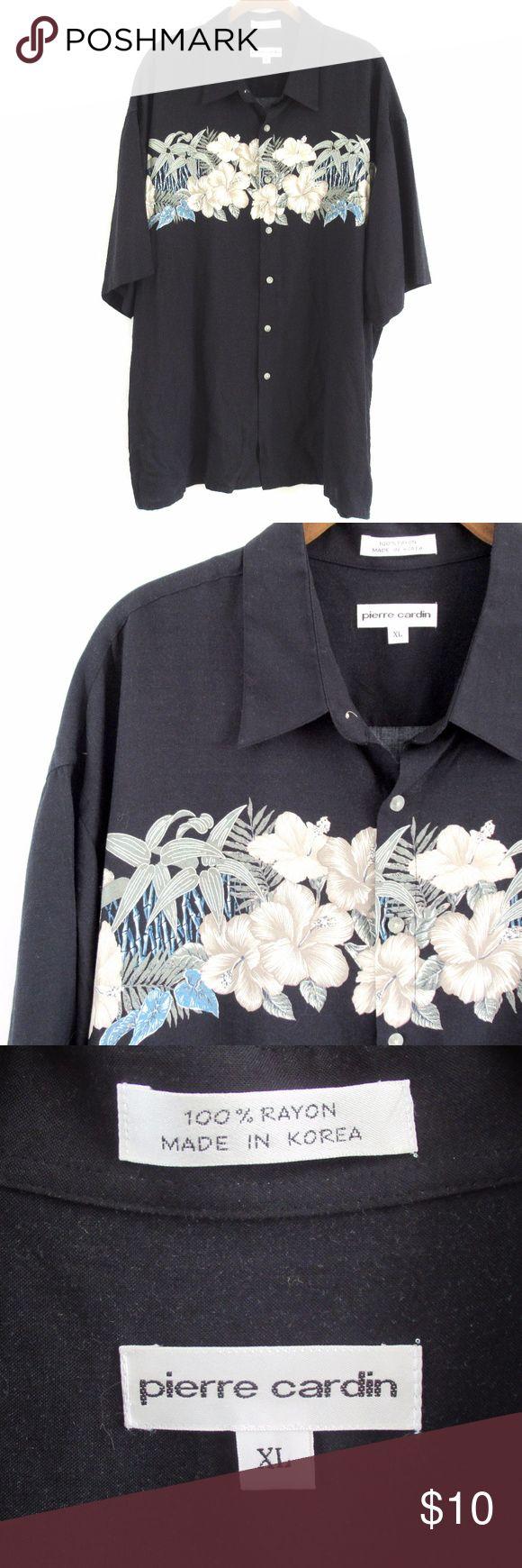Pierre Cardin Men's Hawaiian Shirt 100% Rayon Dark navy with floral pattern Short Sleeves; Button front Size XL Pierre Cardin Shirts