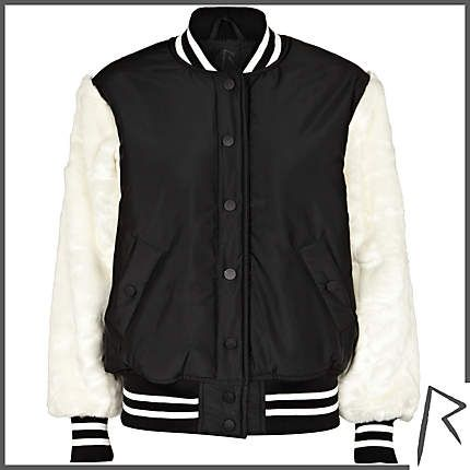 #RIHpintowin #RihannaforRiverIsland Black Rihanna faux fur sleeve bomber jacket. #RIHpintowin click here for more details >  http://www.pinterest.com/pin/115334440431063974/