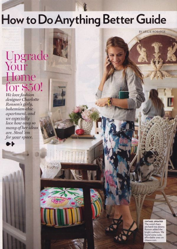 I can tell we have similar taste.  I have that same table, a similar white wicker chair, milk glass vases with bubbles, etc. charlotte ronson apartment from glamour magazine