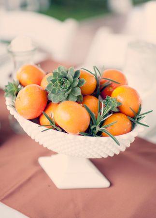 Clementine and Succulent Centerpiece | Joyeuse Photography | blog.theknot.com