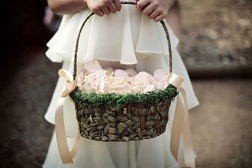 DIY Mossy Flowergirl Basket - Perfect for a fairy tale wedding ceremony! Your flower girl will look like a little pixie prancing down the aisle!
