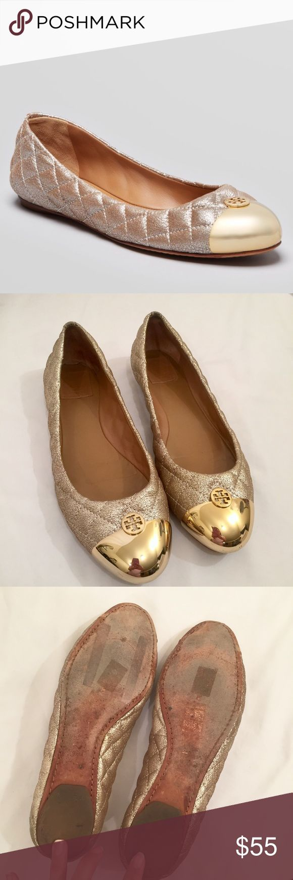 Tory Burch Gold Cap Toe Flats Gently used Tory Burch flats. Overall in good condition with some jean dye transfer on the heel, but the picture makes it look darker than it actually is:( gorgeous shoes though! Size 9 1/2 Tory Burch Shoes Flats & Loafers