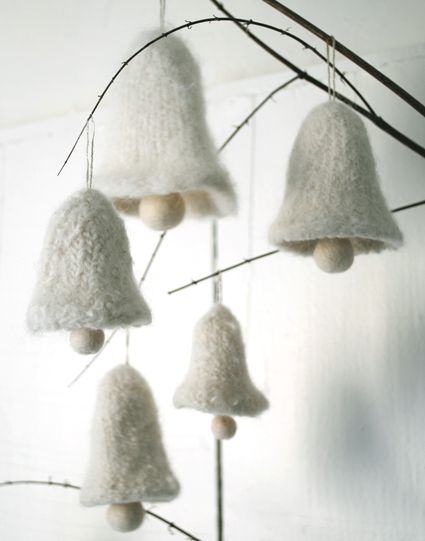 Such charmingly sweet, serenely lovely felted wool bells from the Purl Bee. #wool #ornaments #decorations #winter #bells #Christmas #white #pale