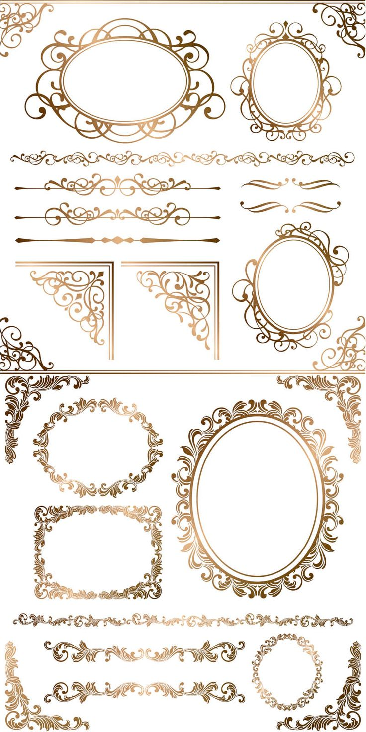Gold ornamental elements and frames vector
