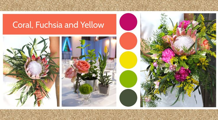 Coral, Fuchsia and Yellow style board by Le Bouquet Weddings | Le Bouquet St-Laurent Florist